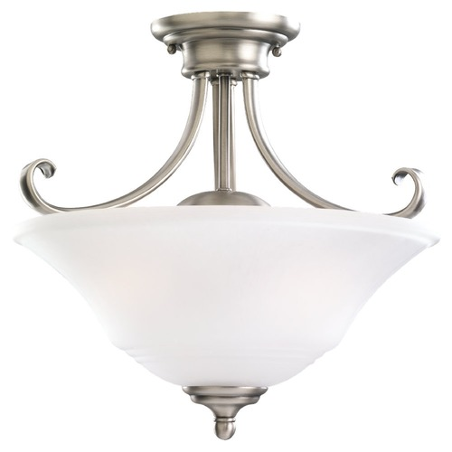 Sea Gull Lighting Semi-Flushmount Light with White Glass in Antique Brushed Nickel Finish 77380-965