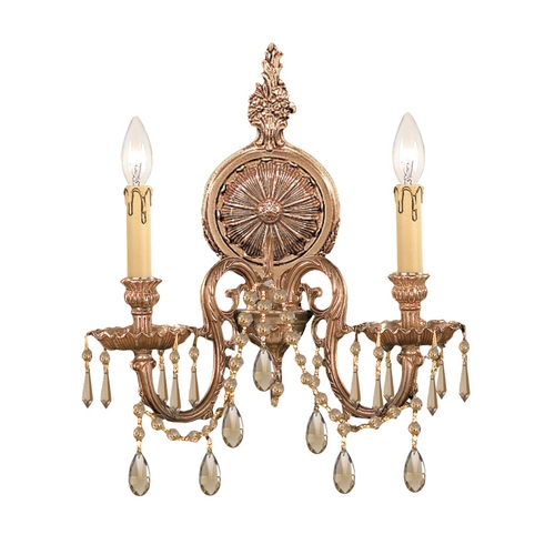 Crystorama Lighting Crystal Sconce Wall Light in Olde Brass Finish 2802-OB-GTS