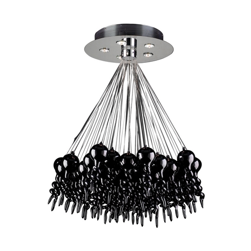 PLC Lighting Modern Chandelier in Polished Chrome Finish 96949 BLACK
