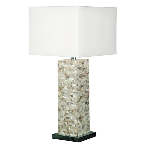 Kenroy Home Lighting Modern Table Lamp with White Shade in Mother Of Pearl Finish 32025MOP