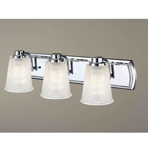 Design Classics Lighting 3-Light Bathroom Light with Clear Prismatic Glass in Chrome Finish 1203-26 GL1056-FC