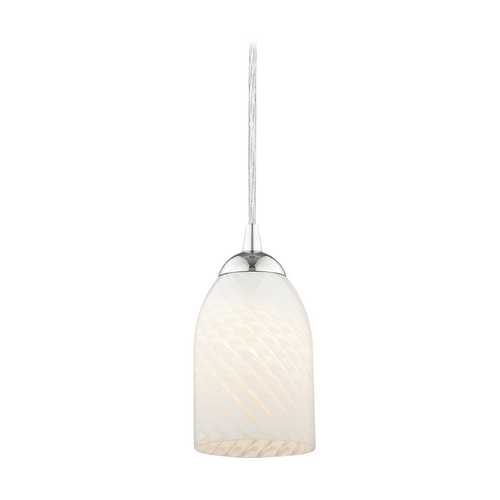 Design Classics Lighting Art Glass Mini-Pendant Light with White Scalloped Bell Shade 582-26 GL1020D