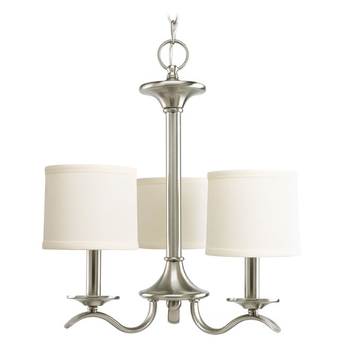 Progress Lighting Progress Chandelier with Beige / Cream Shades in Brushed Nickel Finish P4632-09