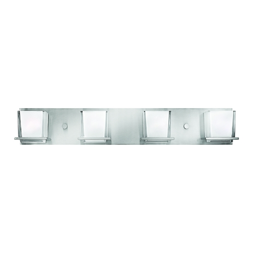 Hinkley Lighting Bathroom Light with White Glass in Brushed Nickel Finish 5774BN