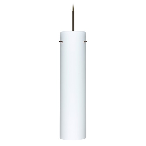 Besa Lighting Besa Lighting Stilo Bronze LED Mini-Pendant Light with Cylindrical Shade 1JT-722407-LED-BR