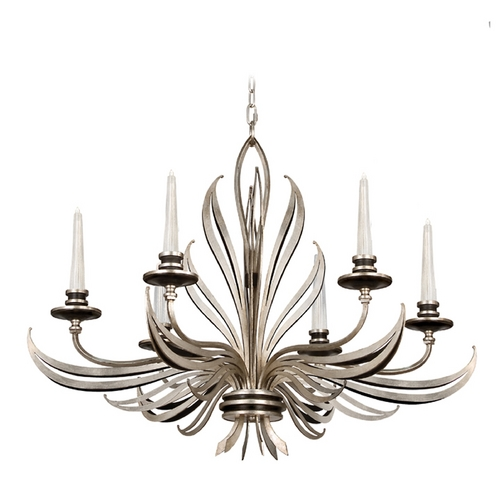 Fine Art Lamps Fine Art Lamps Villandry Silver Antique Silver Leaf with Black Chandelier 815940ST