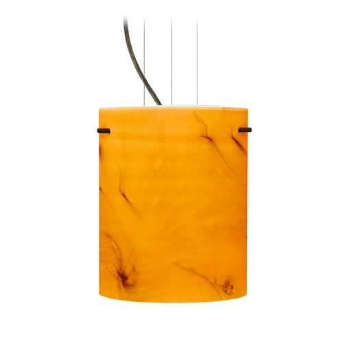 Besa Lighting Besa Lighting Tamburo Bronze LED Mini-Pendant Light with Cylindrical Shade 1KG-4006HB-LED-BR