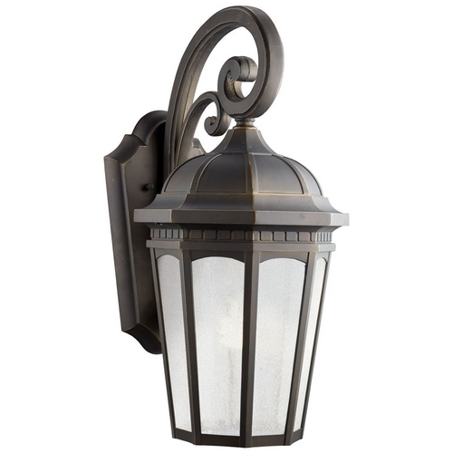 Kichler Lighting Kichler Outdoor Wall Light with White Glass in Rubbed Bronze Finish 11012RZ