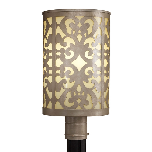 Minka Lavery Post Light with Beige / Cream Glass in Nanti Champagne Silver Finish 1496-252-PL