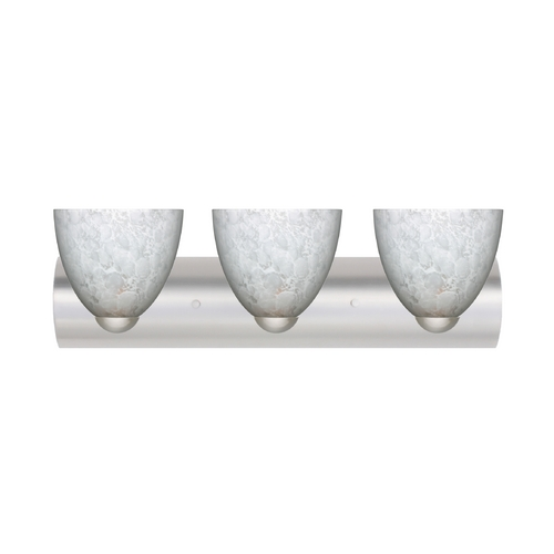 Besa Lighting Modern Bathroom Light with White Glass in Satin Nickel Finish 3WZ-757219-SN
