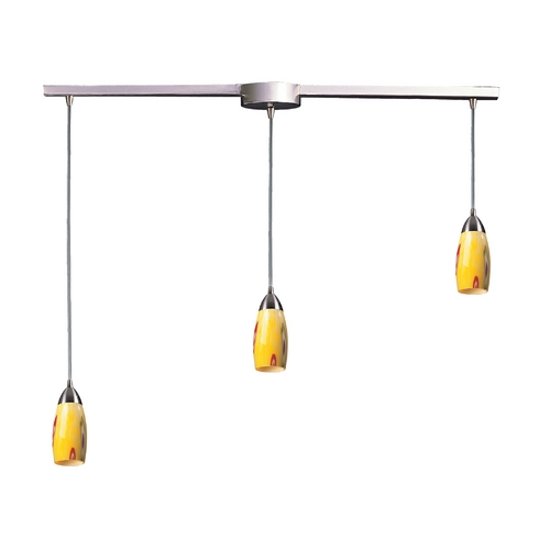 Elk Lighting Modern Multi-Light Pendant Light with Art Glass and 3-Lights 110-3L-YW