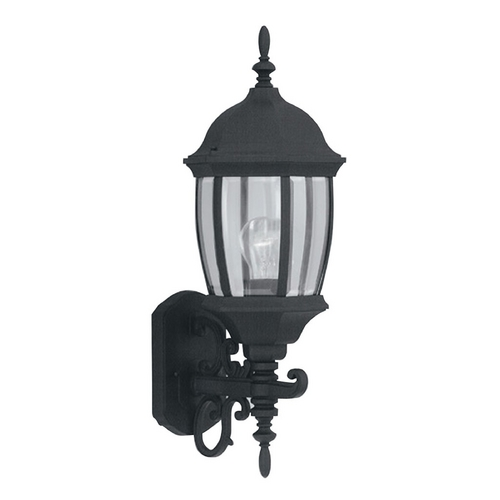 Designers Fountain Lighting Outdoor Wall Light with Clear Glass in Black Finish 2422-BK