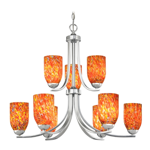 Design Classics Lighting Modern Chandelier with Art Glass in Polished Chrome Finish 586-26 GL1012D