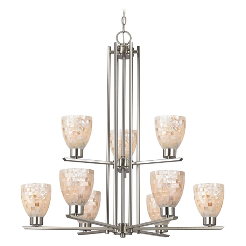 Design Classics Lighting Chandelier with Beige / Cream Glass in Satin Nickel Finish 1122-1-09 GL1026MB