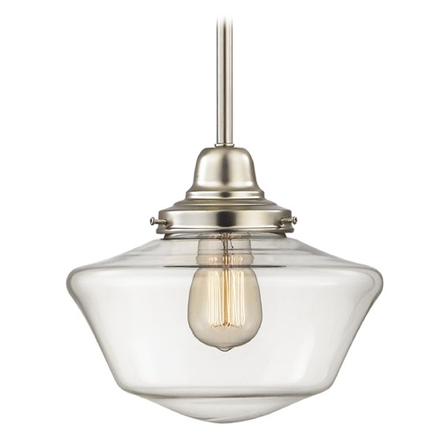 Design Classics Lighting 10-Inch Satin Nickel Clear Glass Schoolhouse Mini-Pendant Light FB4-09 / GA10-CL