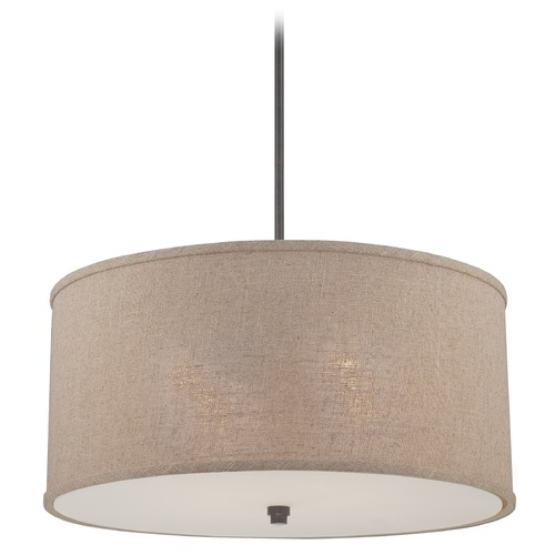 Quoizel Lighting Modern Drum Pendant Light in Mottled Cocoa Finish CRA2822MC
