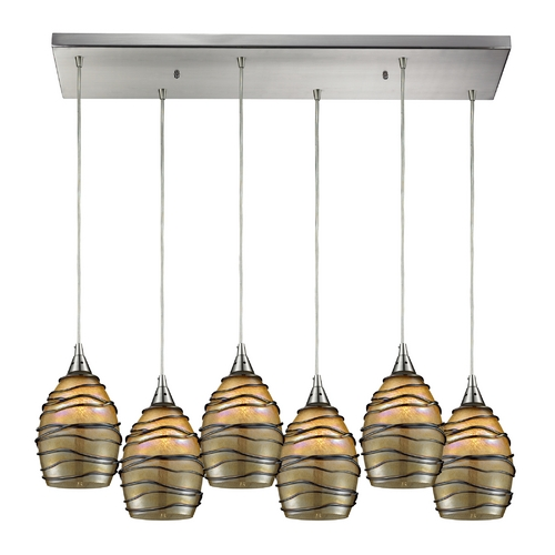 Elk Lighting Modern Multi-Light Pendant Light with Brown Glass and 6-Lights 31142/6RC