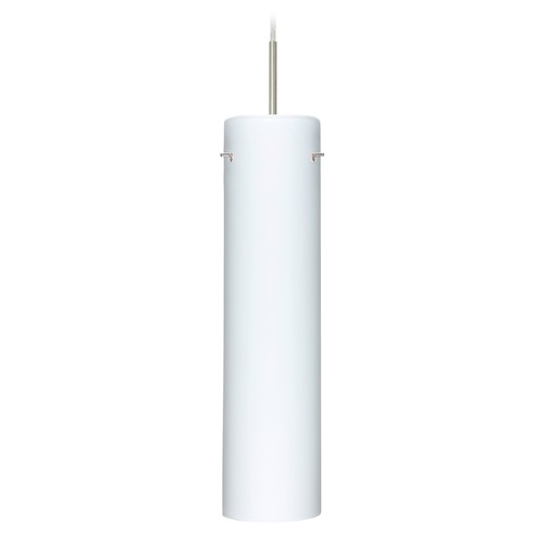 Besa Lighting Besa Lighting Stilo Satin Nickel LED Mini-Pendant Light with Cylindrical Shade 1JT-722407-LED-SN