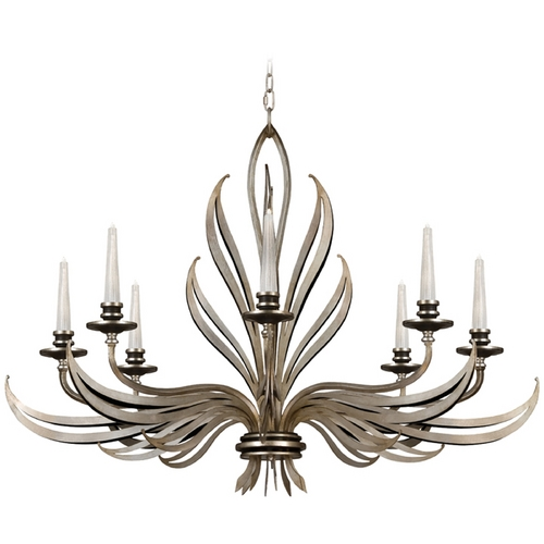 Fine Art Lamps Fine Art Lamps Villandry Silver Antique Silver Leaf with Black Chandelier 817240ST