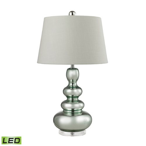 Dimond Lighting Dimond Lighting Silver Mercury, Green Accent LED Table Lamp with Oval Shade D2557-LED