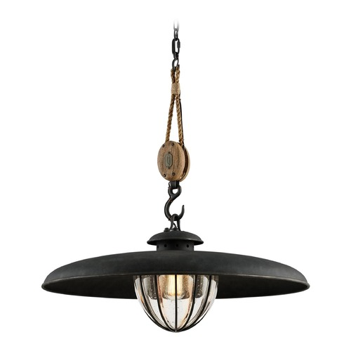 Troy Lighting Seeded Glass Pendant Light Vintage Iron Troy Lighting F4907