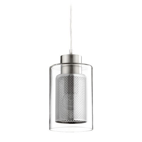 Quorum Lighting Quorum Lighting Satin Nickel Mini-Pendant Light with Cylindrical Shade 882-1465