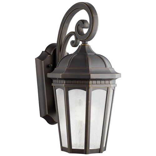 Kichler Lighting Kichler Outdoor Wall Light with White Glass in Rubbed Bronze Finish 11011RZ
