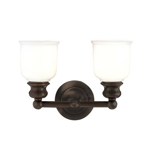 Hudson Valley Lighting Bathroom Light with White Glass in Old Bronze Finish 2302-OB