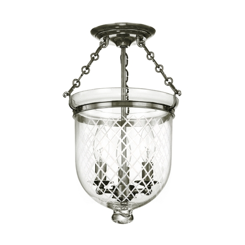 Hudson Valley Lighting Semi-Flushmount Light with Clear Glass in Historic Nickel Finish 251-HN-C2