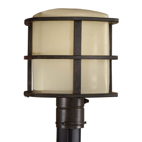 Minka Lavery Post Light with Beige / Cream Glass in Iron Oxide Finish 72136-357-PL