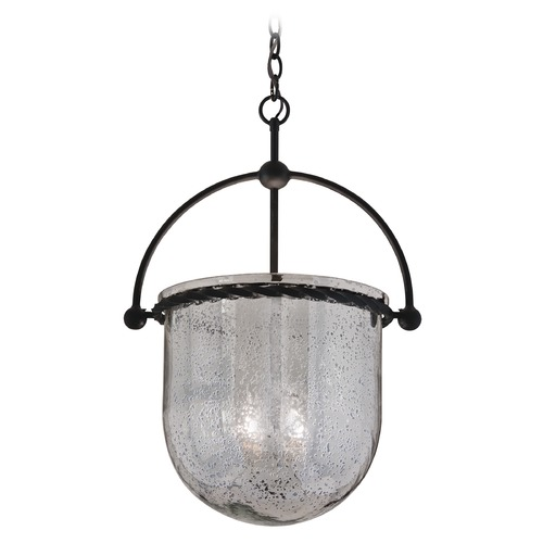 Troy Lighting Pendant Light with Grey Glass in Old Iron Finish F2565