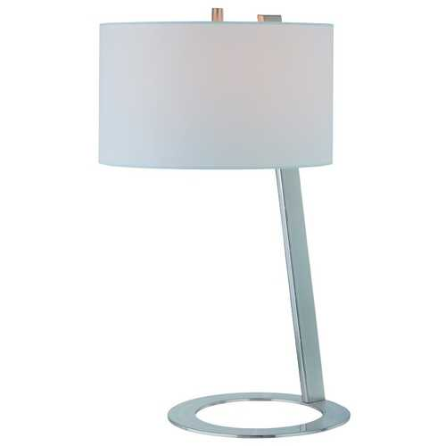 Lite Source Lighting Lite Source Lighting Futurum Polished Steel Table Lamp with Drum Shade LS-21395PS/WHT