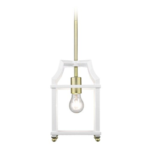 Golden Lighting Leighton SB Mini Pendant in Satin Brass with White 8401-M1LSB-WH