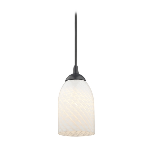 Design Classics Lighting Contemporary Black Mini-Pendant Light with White Scalloped Art Glass 582-07 GL1020D