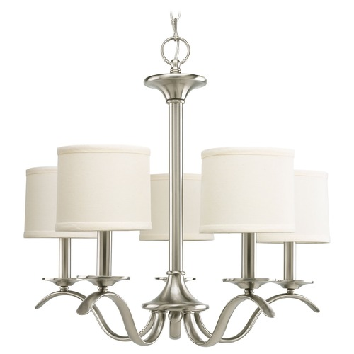 Progress Lighting Progress Chandelier with Beige / Cream Shades in Brushed Nickel Finish P4635-09