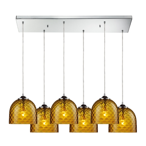 Elk Lighting Modern Multi-Light Pendant Light with Amber Glass and 6-Lights 31080/6RC-AMB