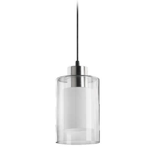 Quorum Lighting Quorum Lighting Satin Nickel Mini-Pendant Light with Cylindrical Shade 8882-65
