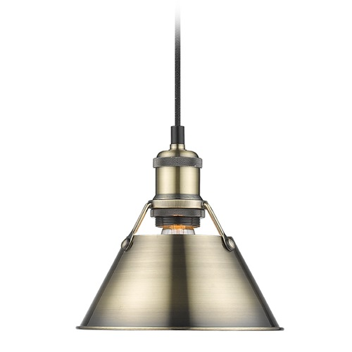 Golden Lighting Golden Lighting Orwell Ab Aged Brass Mini-Pendant Light with Conical Shade 3306-S AB-AB