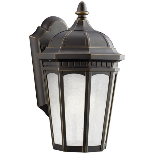 Kichler Lighting Kichler Outdoor Wall Light with White Glass in Rubbed Bronze Finish 11010RZ