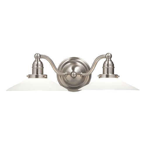 Hudson Valley Lighting Bathroom Light with White Glass in Satin Nickel Finish 3912-SN