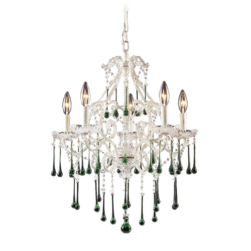 Elk Lighting Mini-Chandelier in Antique White Finish 4002/5LM