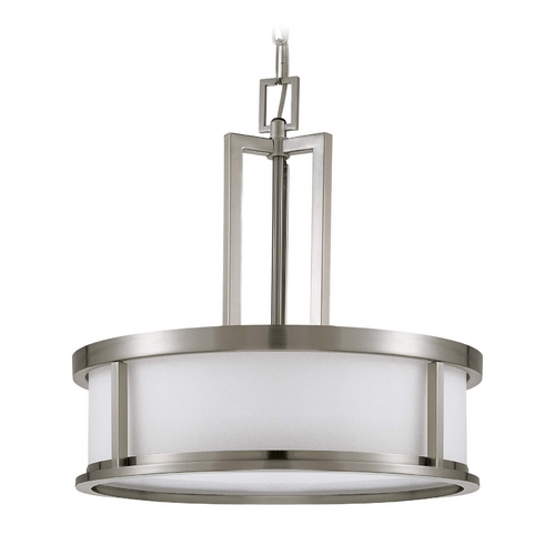 Nuvo Lighting Drum Pendant Light with White Glass in Brushed Nickel Finish 60/2857