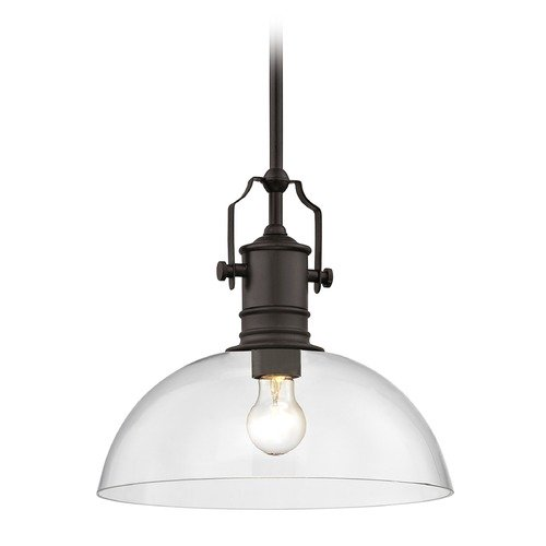 Design Classics Lighting Industrial Bronze Pendant Light with Clear Glass 13-Inch Wide 1765-220 G1785-CL