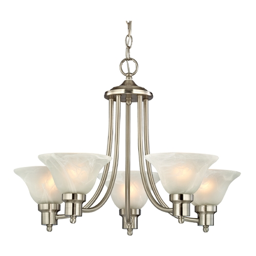 Design Classics Lighting Satin Nickel Chandelier with Alabaster Glass Shades  1650-09