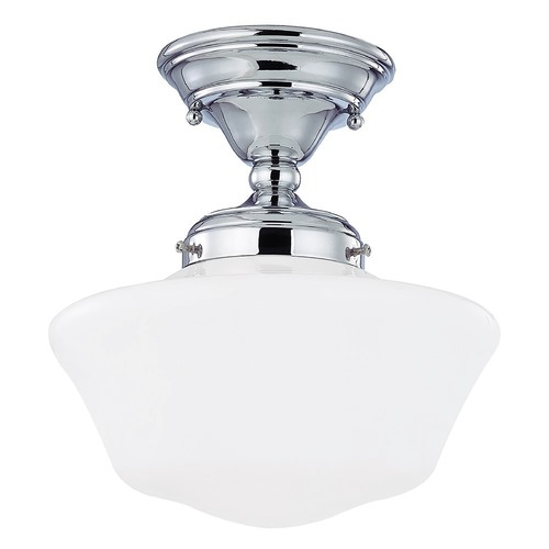 Design Classics Lighting 10-Inch Chrome Schoolhouse Semi-Flushmount Ceiling Light FAS-26 / GA10