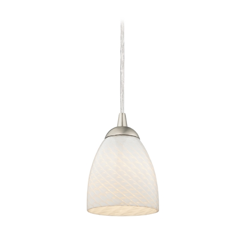 Design Classics Lighting Modern Nickel Mini-Pendant Light with Art Glass Bell Shade 582-09 GL1020MB