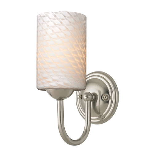 Design Classics Lighting Sconce with White Art Glass in Satin Nickel Finish 593-09 GL1020C