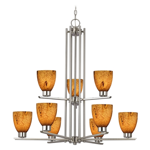 Design Classics Lighting Modern Chandelier with Brown Glass in Satin Nickel Finish 1122-1-09 GL1001MB
