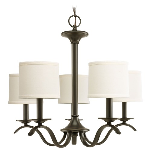 Progress Lighting Progress Chandelier with Beige / Cream Shades in Antique Bronze Finish P4635-20