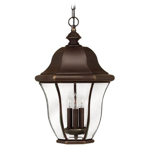 Hinkley Lighting Outdoor Hanging Light with Clear Glass in Copper Bronze Finish 2332CB